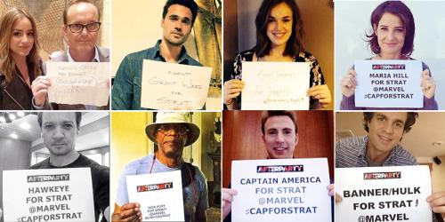Avengers assemble for Strat fighting cancer CapForStrat