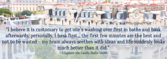 I Capture the Castle, Dodie Smith, bath quote, Something for a rainy day, Sophie Caldecott