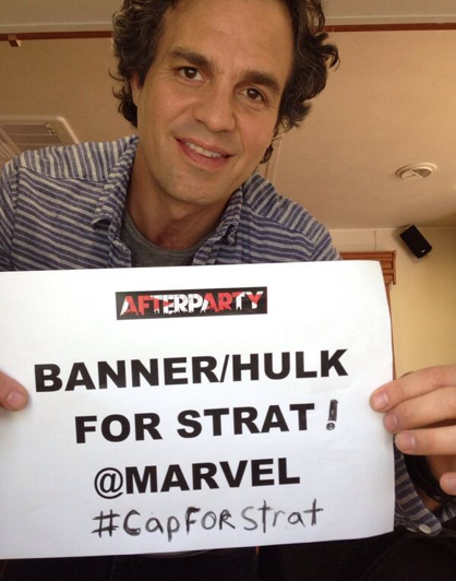 Mark Ruffalo Incredible Hulk Marvel CapForStrat selfie for Strat