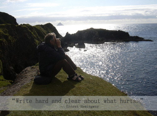 write hard and clear about what hurts, Ernest Hemingway quote, quotes about writing, Ireland, cliff, coast