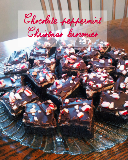 Chocolate Peppermint Christmas Brownies