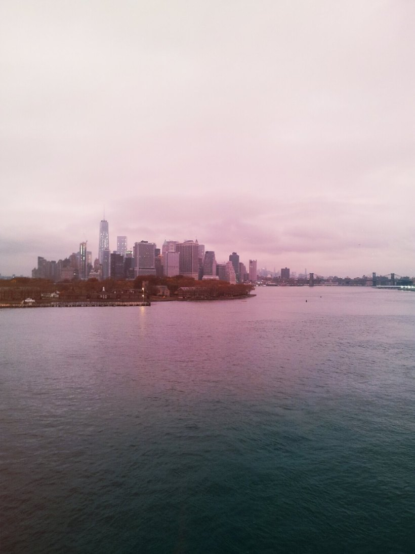 New York City skyline, Queen Mary II, sailing from Southampton to New York USA